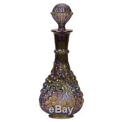 Vintage Imperial Grape Wine Bottle Decanter withStopper Iridescent Amethyst Glass