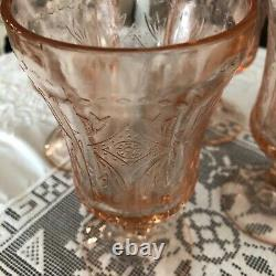 Vintage Indiana Glass 4 Pink Recollection Madrid Water Goblet Wine Glass MINT