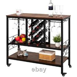Vintage Industrial Bar Cabinet with Storage Wine Rack Table with Glass Holder