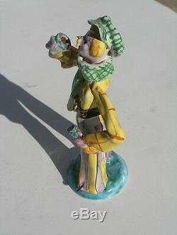 Vintage Italian Ceramic Majolica Figurine Man Mustache Glass Wine Bottle Drinkin