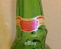 Vintage Italian Glass CHIANTI Wine Decanter Green SNAIL Bottle 32 Cevin 3 liter