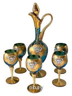 Vintage Italian Murano Gold Gild 24 KT Paint Wine Set 7 Prices