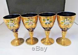 Vintage Italy BOHEMIAN Decanter 4 WINE Glasses COBALT BLUE GOLD TWISTED STEM
