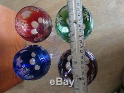 Vintage Jewel Colored Mouth blown/cut Crystal Wine Glass's German Never been use