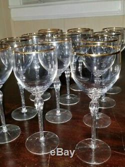 Vintage LENOX CRYSTAL MONROE GOLD TRIM Wine GLASS 7 1/2 12 pieces