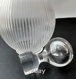 Vintage Lalique, France Langeais Frosted Art Glass Ribbed Decanter AS IS