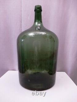 Vintage Large Green Glass Demijohn Carboy Wine Bottle Antique Jug Collectible12