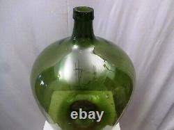 Vintage Large Green Glass Demijohn Carboy Wine Bottle Antique Jug Collectibles1
