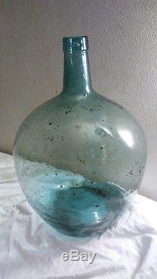 Vintage Large Green Glass Viresa Demijohn Wine Bottle Jug Embossed Neck 18 Tall