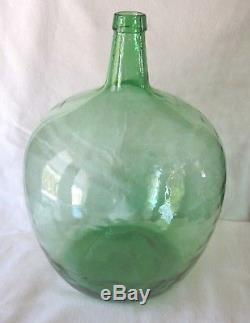Vintage Large Green Glass Viresa Demijohn Wine Bottle Jug Embossed Neck 18 Tall