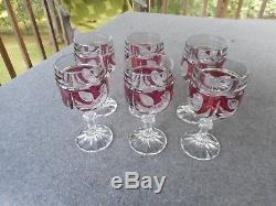 Vintage Lead Crystal Hofbauer Red Bird Glass Set of 6 Wine Goblets /Glasses