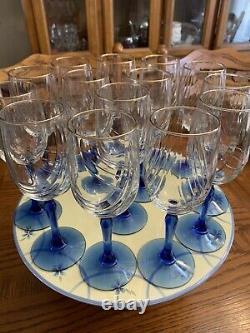 Vintage Lenox Crystal Wine Glass Cobalt Blue Stemmed Dual Swag (Set of 12)