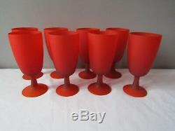 Vintage MCM 1960's Lot of 8 Murano Italy Satinato Sunset Red Wine Glasses