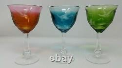 Vintage MOSER Crystal Wine Glasses 5 oz Multi Colored Birds of the Wild