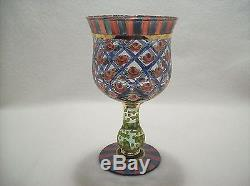 Vintage Mackenzie Childs Hand Painted Glass Water Wine Goblet Pink Roses
