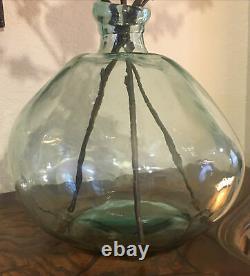 Vintage Made In Spain Green Handblown Glass X Large Decor Wine Demijohn