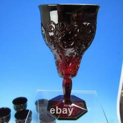 Vintage McKee Red Rock Crystal Glass 10 Tall Footed Wine or Water Goblets