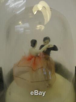 Vintage Metal Wood Glass Music Box Decanter Wine Bottle Dancing Couple ZC2-1