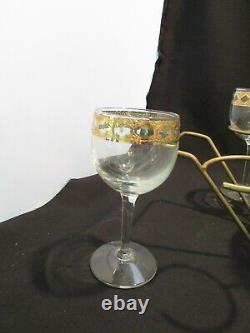 Vintage Mid Century CULVER VALENCIA Glass Decanter 6 Stems Wine Glasses WithStand