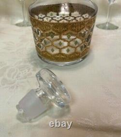 Vintage Mid Century Culver Valencia Glass Decanter & 8 Stemmed Wine Glasses