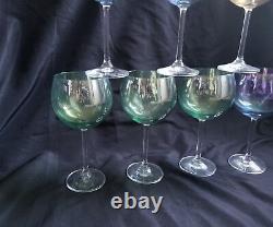Vintage Mid Century Iridescent footed Glasses set x 7 Dorothy Thorpe