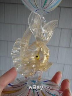 Vintage Mid Century Salviati Murano Latticino Gold Fleck Fish Wine Glass