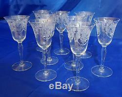 Vintage Morgantown Glass Works VIRGINIA 9 Etched Urn/Floral Optic Wine Glasses