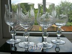 Vintage Moser Forest Animals Hand Engraved Four Wine Glasses 225mls