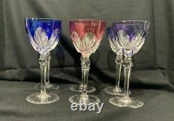 Vintage Multi-Color Bohemian Czech Set of 6 Crystal Cut 71/4 Clear Wine Glasses