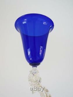 Vintage Murano Venetian Dolphin Stem Wine Glass Goblet