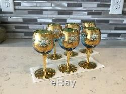 Vintage Murano Wine Glasses, Set Of 6, Hand Painted, Baby Blue