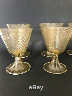 Vintage Murano Wine Goblets Gold Flecks set of 6 Art Glass