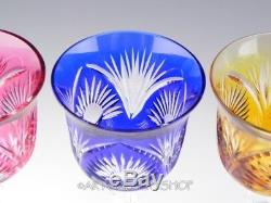 Vintage Nachtmann CRYSTAL CUT TO CLEAR WINE WATER GOBLETS MULTI COLOR Set of 5
