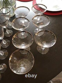 Vintage Noritake Silver Platinum Rim Crystal Glassware Set Wine Champagne Sherry