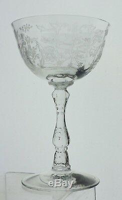 Vintage Optic Flower Basket Etched Wine/champagne Glass Set 10 Stemware