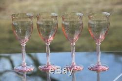Vintage PINK Optic Glass Wine Glasses, Set of 7, Vintage Pink Depression