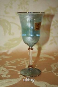 Vintage Pair A. Dal Borgo Fine Murano Art Glass Stemmed Wine Glasses in Orig Box