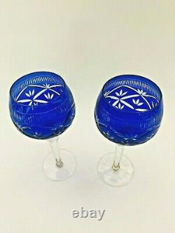 Vintage Pair of Moser Crystal Glass Wine Stems Etched Cut to Clear Cobalt Blue