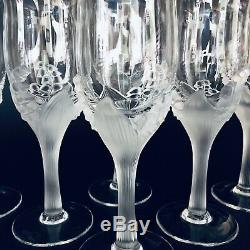 Vintage Paryphee French Crystal Art Glass Wine Glass/Goblet Lilly-Of-Valley 6