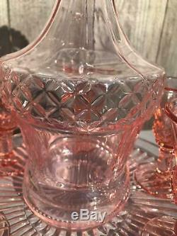 Vintage Pink Depression Glass Decanter wine glasses tray set 9 pc BOHO Barware