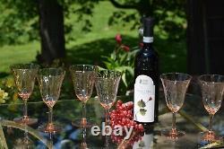 Vintage Pink Diamond Optic Wine glasses, Set of 6, 1950's Pink Vaseline glass