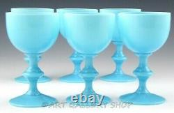 Vintage Portieux Vallerysthal French OPALINE BLUE 4.5 WINE GLASSES Set of 6