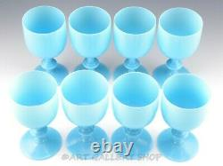 Vintage Portieux Vallerysthal French OPALINE BLUE 6.5 WATER WINE GOBLETS Set 8