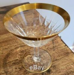 Vintage RARE Gold Rim Glasses 12 water 12 wine 12 champagne BEAUTIFUL