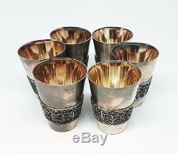 Vintage RUSSIAN VODKA SHOT GLASS SET 6pcs Scan filigree &tray WINE SET USSR 1988