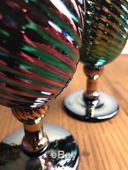 Vintage Rare Carnival Iridescent Swirl Rick Strini Wine Art Glasses A Pair