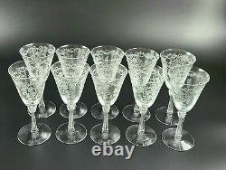 Vintage Romance by Fostoria Claret Wine Glasses Set of 10