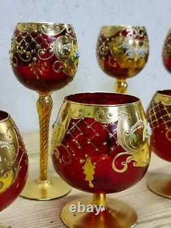 Vintage Ruby Murano Glass Wine Goblets Gold Painted With Floral Design
