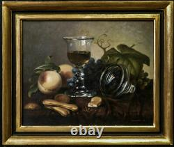 Vintage Russian Still Life Oil Painting Glass of Wine and Peach Signed Shilegov