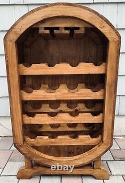 Vintage Rustic Solid Fine Wood Wine Bottle Rack Holds 16 Bottles & Stem Glasses